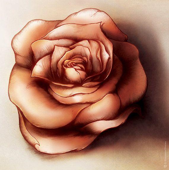 Red Rose Print  Rose art Original art Valentines by ShamVanDamn