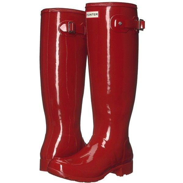 Hunter Original Tour Gloss (Military Red) Women's Rain Boots ($150) ❤ liked on Polyvore featuring shoes, boots, wellington boots, red boots, red platform boots, waterproof rubber boots and waterproof boots
