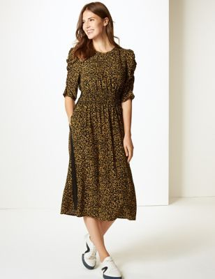 76c42e2efa35 Animal Print Half Sleeve Waisted Midi Dress in 2018