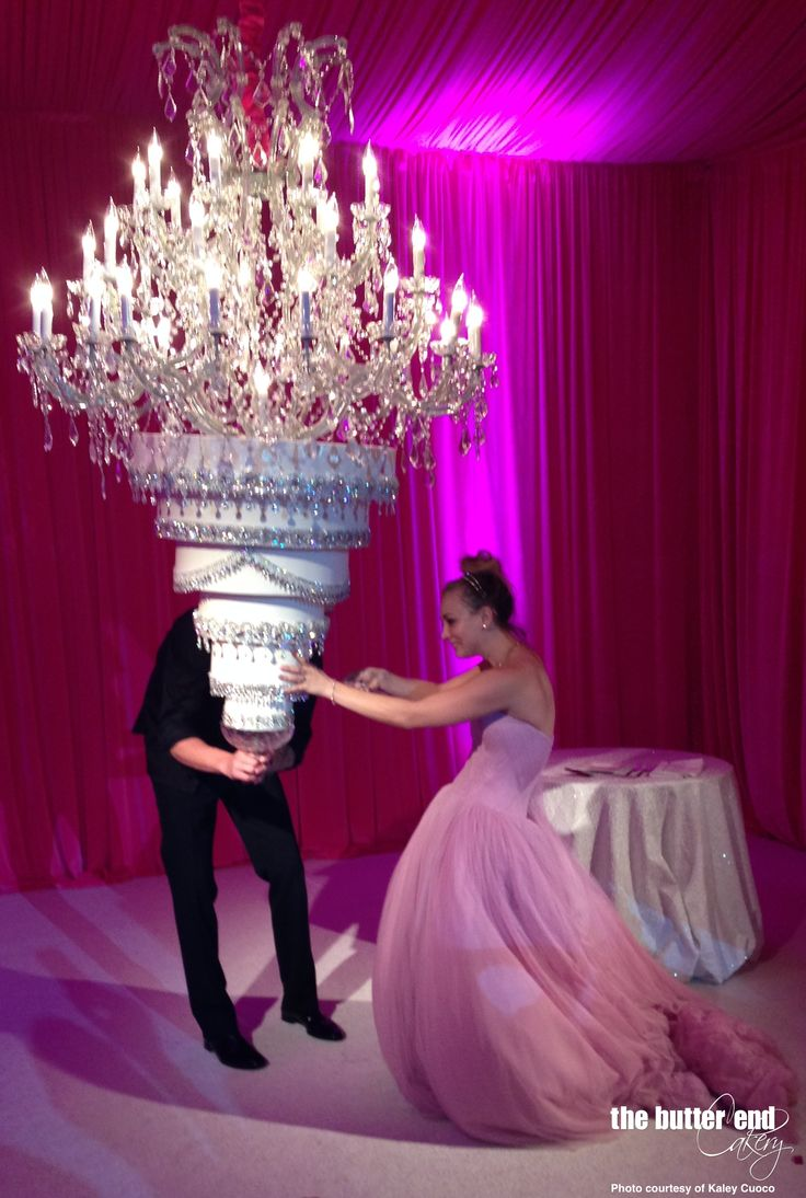 Kaley Cuoco has upside down wedding cake suspended from chandelier by The Butter End Cakery