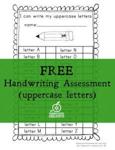 free handwriting sheet: uppercase letter assessment from theclassroomcreative.com