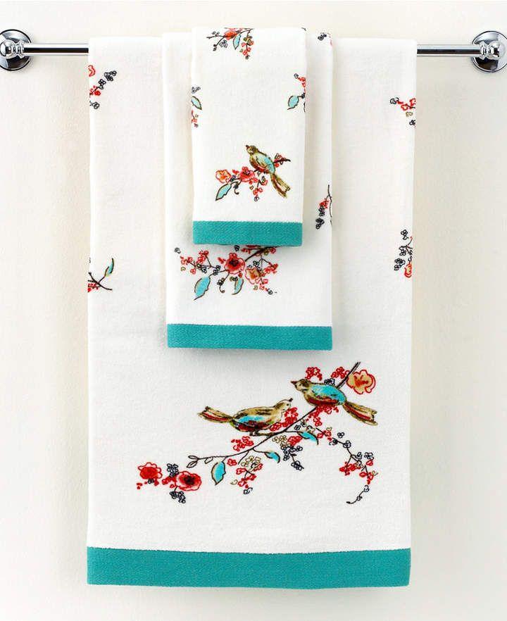 Lenox Simply Fine Bath Towels Chirp Printed 16 X 28 Hand Towel
