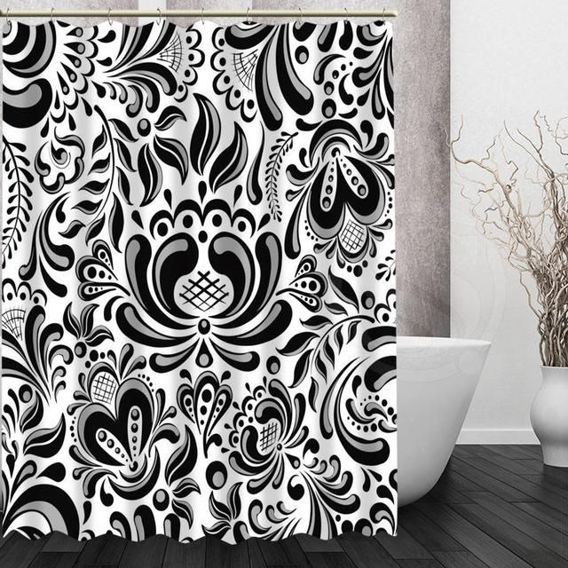 Waterproof Modern Black And White Pattern Shower Curtain With Images Patterned Shower Curtain Curtains Custom Shower Curtains