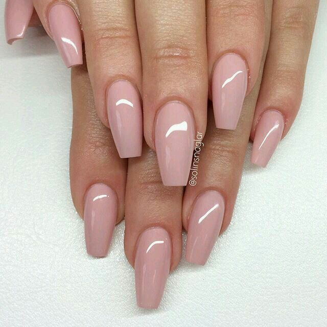 Nude coffin nails, ballerina nails
