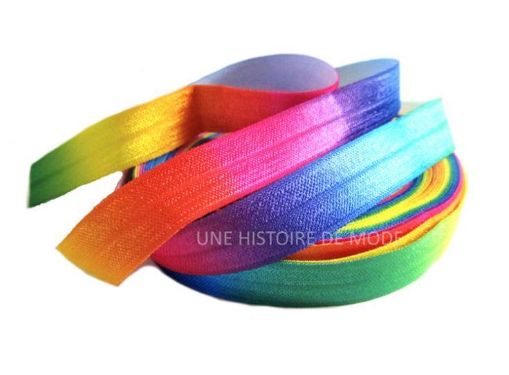 1M de ruban élastique imprimé multicolore - 15 mm de largeur - ruban stretch arc-en-ciel - biais