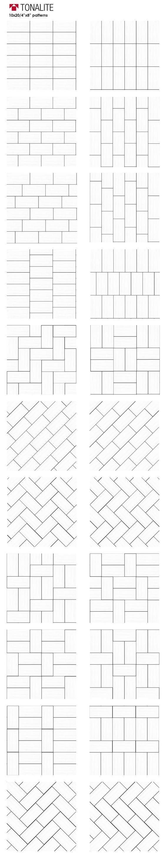"Tonalite 20 creative ways to lay 4""x8"" tile. subway tiles, metro tiles, backsplash, piastrelle, layout, patterns, schemi di posa, walltiles, floortiles, pavimento, rivestimento, ceramica, ceramiche, piastrelle, made in italy with passion, ceramics of italy, italian tiles, italian style, home, design, homedesign, homedecor, interiordesign, arredamento, architettura, casa, architetto:"