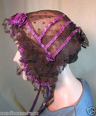 1860s Chantilly Lace Morning Cap with Purple Ribbon Trim Ties | eBay