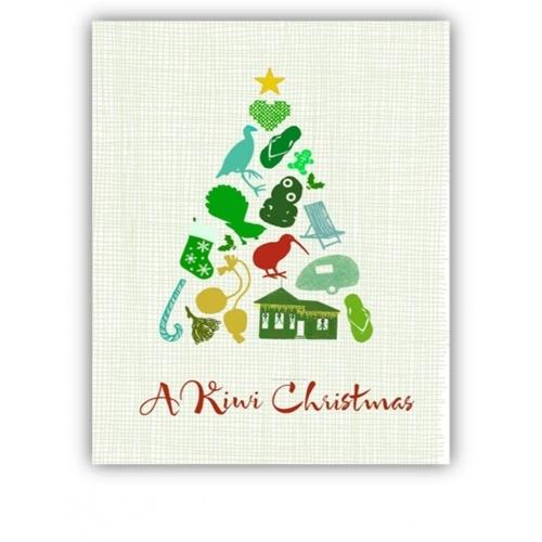 8 New Zealand Christmas Cards (Set C) OF A CHRISTMAS TREE WITH KIWIANA