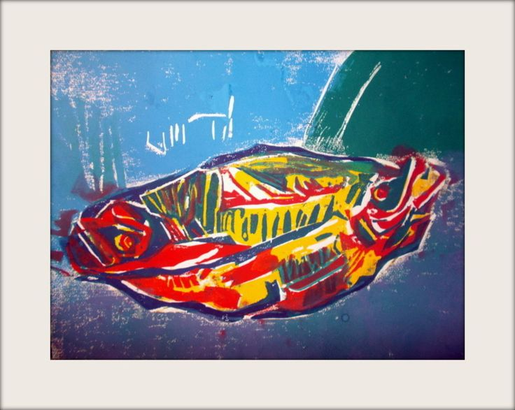 "Block print . ""Herrings"" Limited edition. Hand pulled. Nina Kentrou"