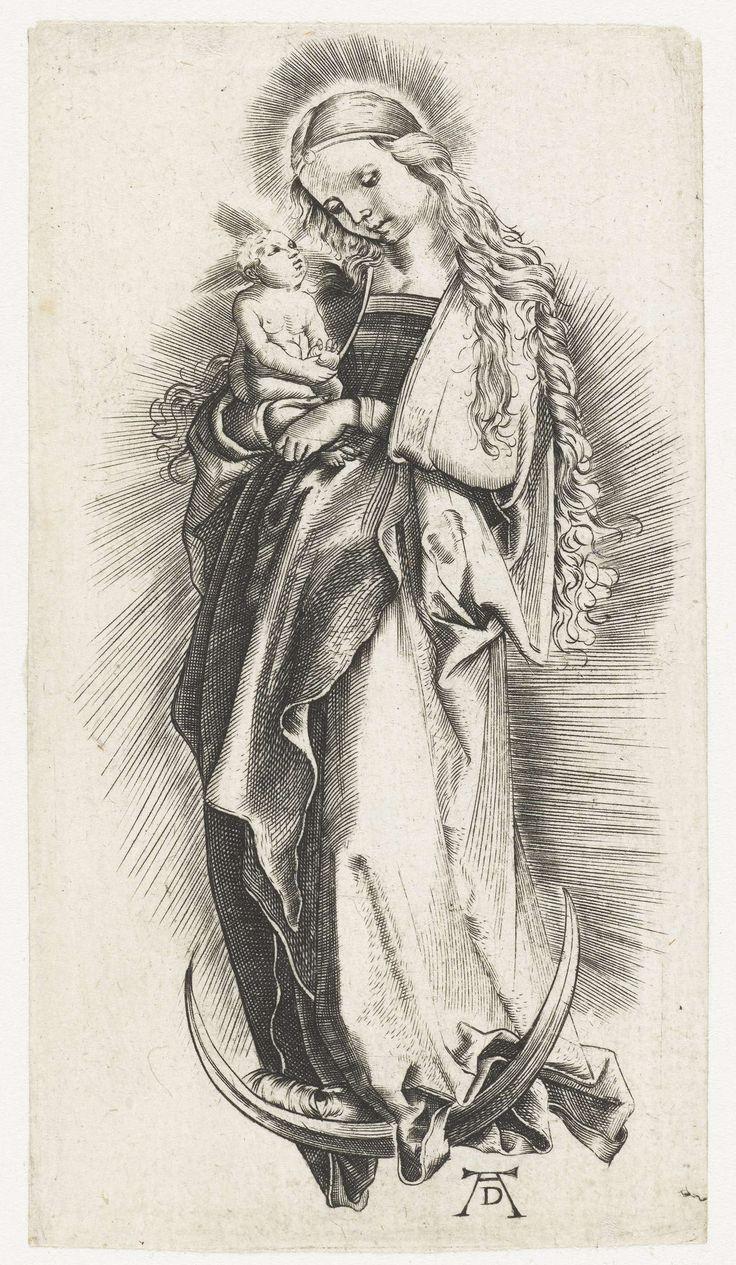 Anonymous   Maria met kind op de maansikkel, Anonymous, 1497 - 1501   Maria met lang krullend haar, staand op een maansikkel, omgeven door een stralenkrans, het Christuskind op de rechterarm.