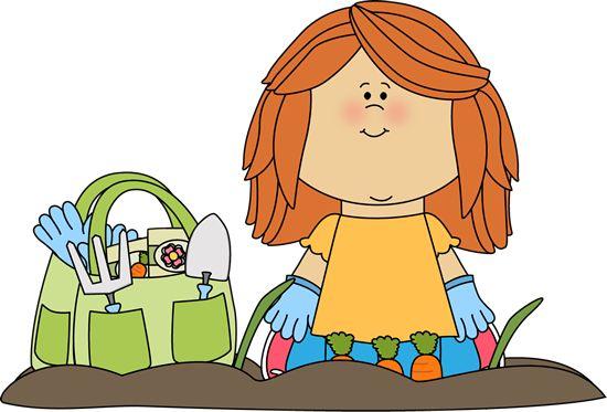 free garden clip art | Girl Planting Garden Clip Art Image - little girl sitting on her knees ...