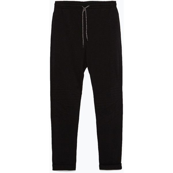 Zara Jogging Pants (6.385 HUF) ❤ liked on Polyvore featuring pants, black, zara pants, zara trousers, jogger pants and jogger trousers