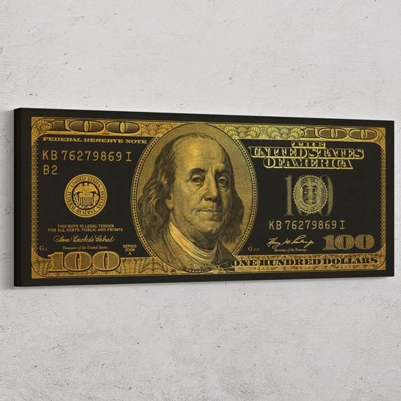 Money Art 100 Dollar Bill Canvas Classic 100 Dollar Etsy In 2021 Hang Canvas Art Art Gold Canvas
