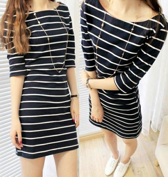 Shopo.in : Buy Striped_sleeve_over_one_piece_dress online at best price in New Delhi, India