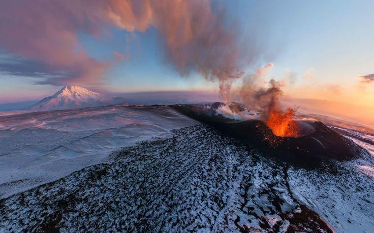 Volcano Eruption Lava Landscape Mountain Snow