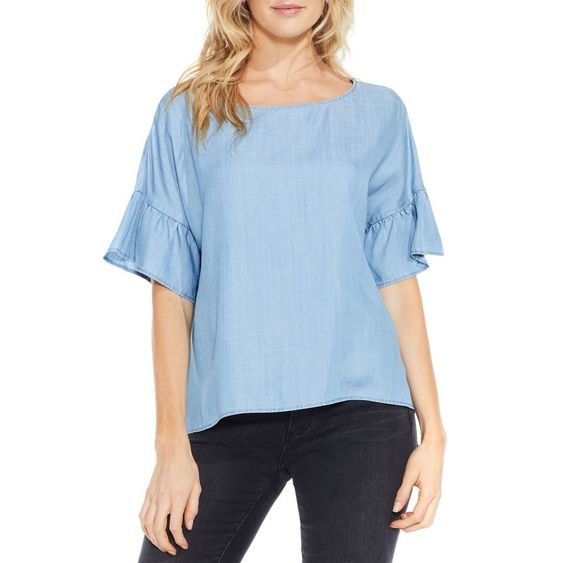 """This year, the sleeves have it. This soft top flaunts a relaxed silhouette but charms with ruffled short sleeves. Add Southwestern flair with a studded suede handbag and denim skirt. 100% Tencel® lyocell Size small: 23.5"""" length Machine wash cold, tumble dry low Imported"""