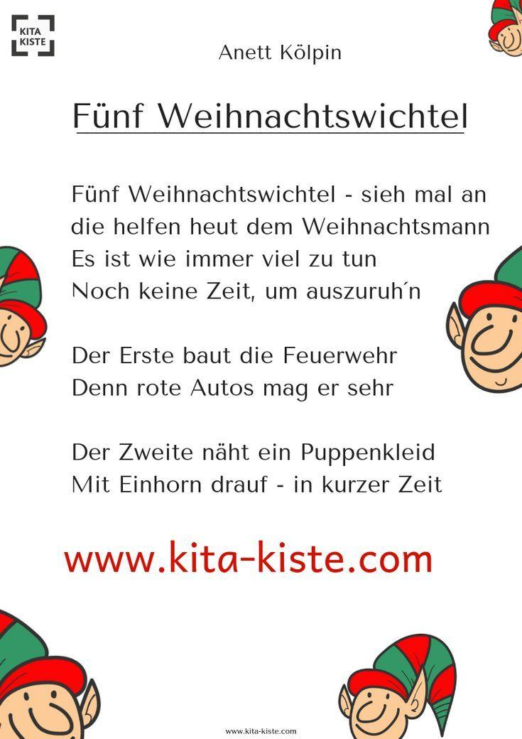 Funf Weihnachtswichtel Fingerspiel Kindergarten Fingerspiele Gedichte Zum Advent Fingerspiel Weihnachten