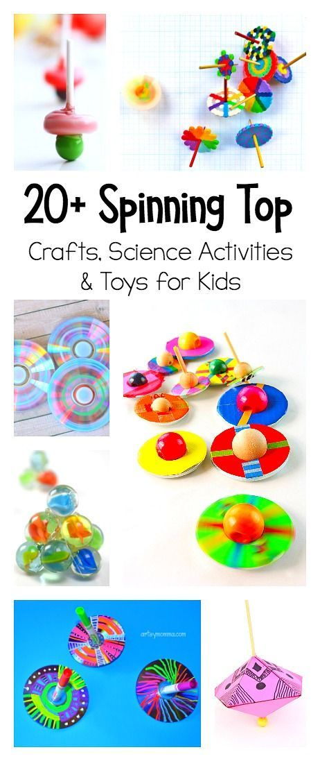 20 Spinning Top Crafts and Toys to use for creative play and science for kids! Explore physics with homemade spinning tops made from things like CDs, toothpicks, and even paper!