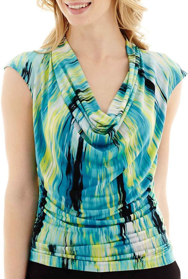Worthington Rouched Cowlneck Top - Petite