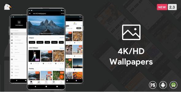 Download 4k Hd Wallpaper Android App Google Material Design Admob Firebase Push Noti Php Backend 2 3 4khd Admob Android A App Uygulamalar Android