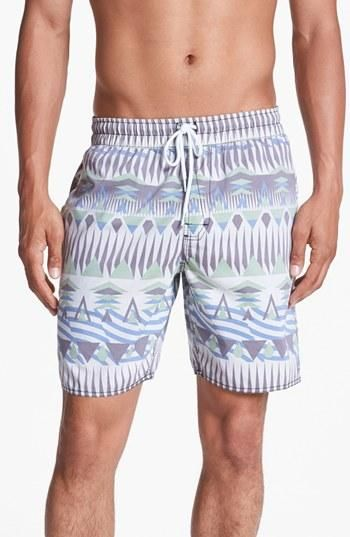 For him: Geometric swim trunks.