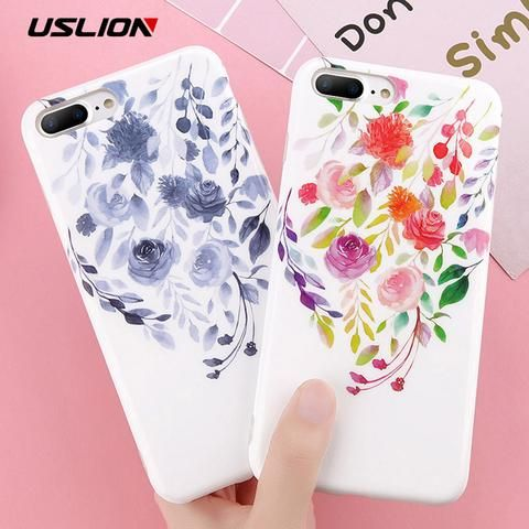 USLION IMD Flower Case For iPhone 7 8 Plus Rose Floral Love Heart Phone Cover Fo…