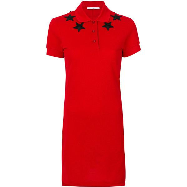 Givenchy star patch polo shirt dress ($680) ❤ liked on Polyvore featuring dresses, red, embroidery dress, t-shirt dresses, shirt dresses, hi lo dress and short sleeve dress