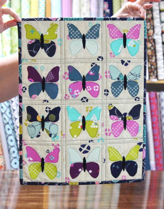Mini Quilt Kit-- Little Butterflies Mini Wall Hanging Quit Kit-- Mochi Fabric from Cotton & Steel-- BACKING INCLUDED