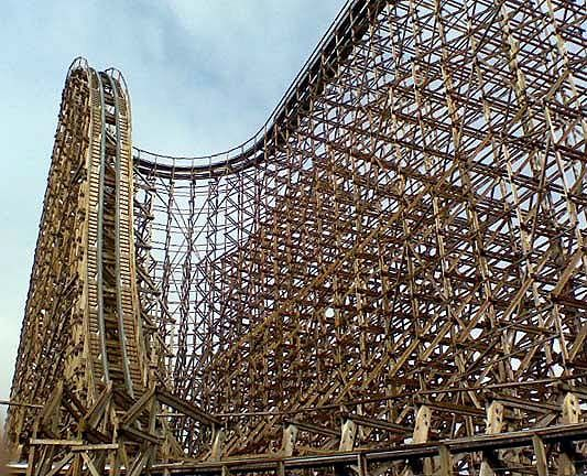 Six Flags Great Adventure's El Toro, the tallest wooden roller coaster at the park.