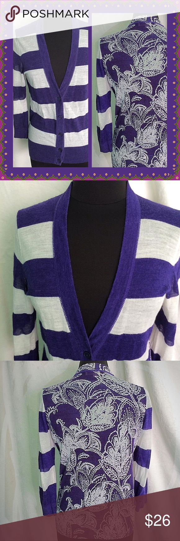 """Ann Taylor Loft / Large / Unique Purple Cardigan Ann Taylor Loft  Size Large   Unique Purple Cardigan  Striped front & Sleeves  Floral Back  45% ramie 55% cotton  Approx Measurements:  Bust 40""""  Length 27"""".  Please feel free to make an offer - Enjoy BIG discounts on bundles & save $$$ on shipping! I package safely & ship fast.  TY & Happy Poshing! 💜💜💜  E9 LOFT Sweaters Cardigans"""