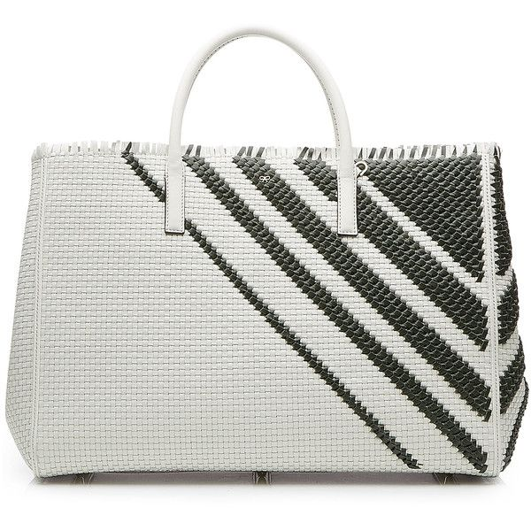 Anya Hindmarch Diamonds Maxi Featherweight Ebury Woven Leather Tote (2 540 AUD) ❤ liked on Polyvore featuring bags, handbags, tote bags, white, woven leather handbags, anya hindmarch tote, white handbags, tote handbags and white tote