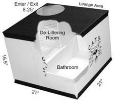 cat litter box with space for litter box and a spot to clean feet. Would need two of these cubes.
