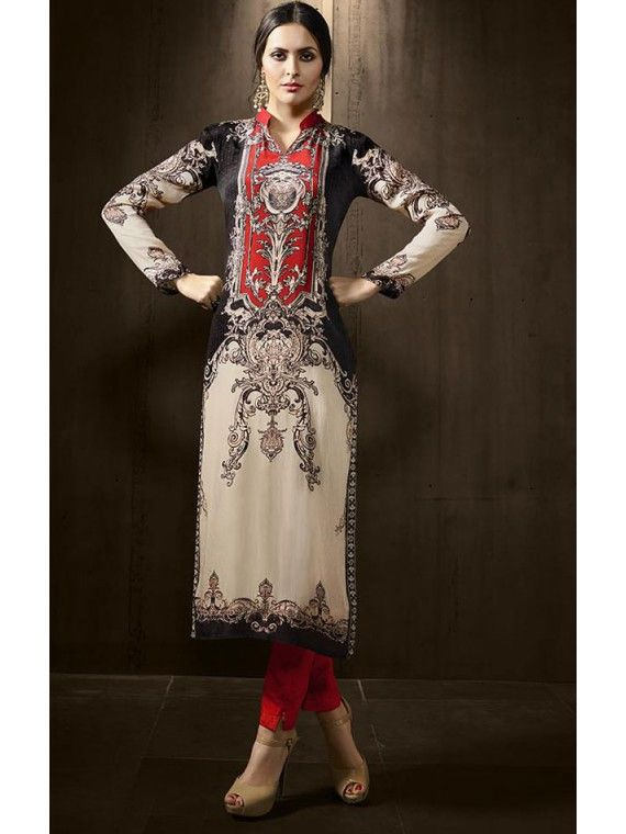 Exquisite Black, Cream and Red Printed Kurti