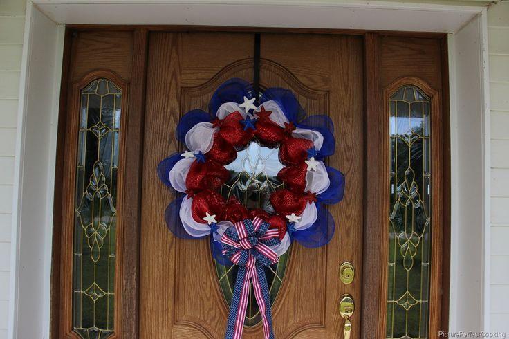Summer-ready Porch with Patriotic Deco Mesh Wreath