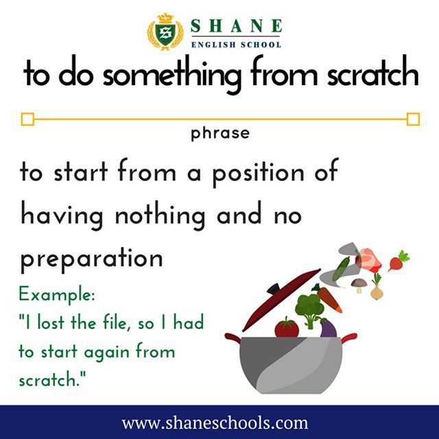 """to do something from scratch to start from a position of having nothing and no preparation """"I lost the file so I had to start again from scratch."""" #ShaneEnglishSchool #ShaneEnglish #ShaneSchools #English #Englishclass #Englishlesson #Englishfun #Englishisfun #language #languagelearning #education #educational #phrase #phrases #phraseoftheday #idiom #idioms"""