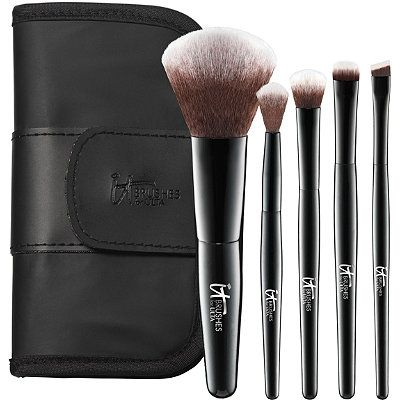 NEW! IT Brushes For ULTA -Your Face & Eye Essentials Mini 5 Pc Travel Brush Set 30.00 A great powder, eye shadow brushes and a liner brush can help get you ready in no time! IT's got you covered! 4 brushes to line, define, smoke out and blend. Plus the allover complexion brush for all your basics from foundation to blush to illuminizer!