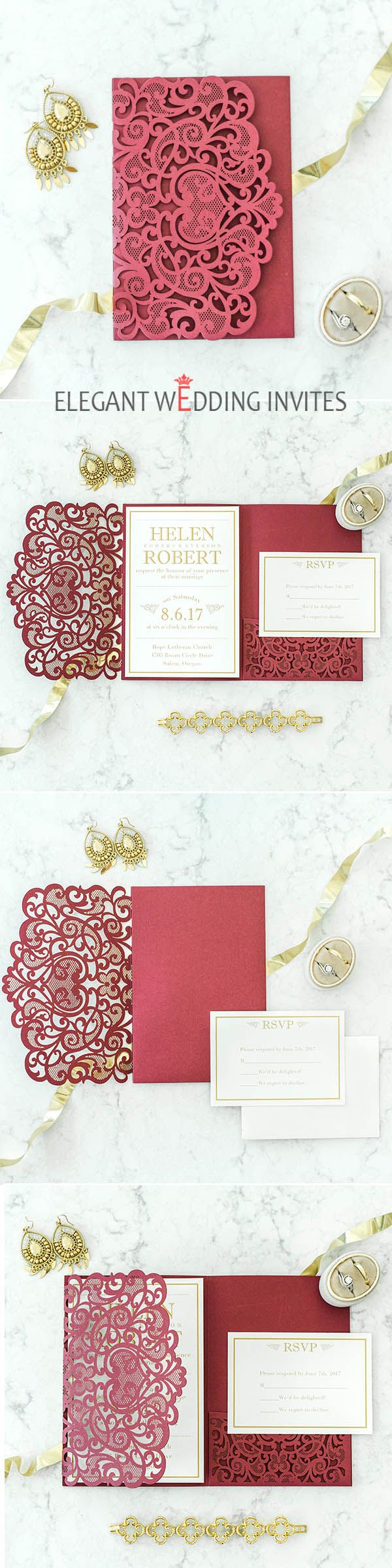 $370 for 100 sets of invitations -- Elegant Fall Burgundy and Gold Heart Laser Cut Pocket Wedding Invitations EWWS181