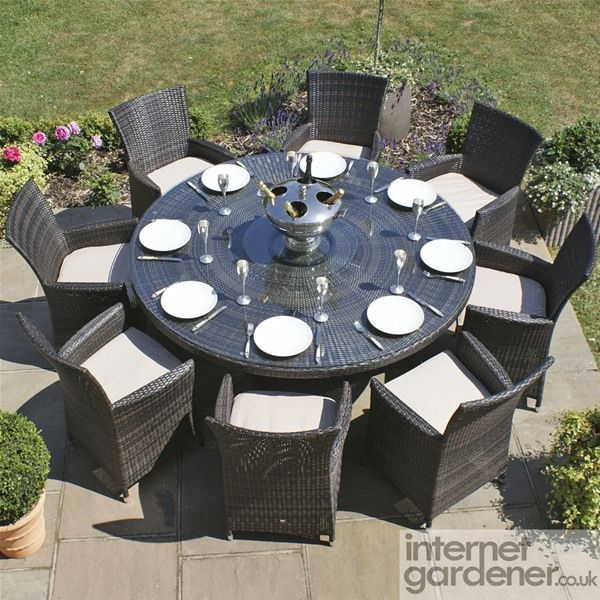 maze rattan la 8 seat round rattan garden furniture set