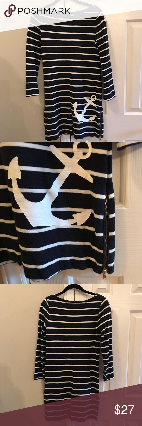 J. Crew maritime striped anchor dress Nautical vibes never go out of style! This dress is adorable, size XXS, in excellent condition. Navy with white stripes and anchor, with 2 zippers on each side of the bottom. J. Crew Dresses