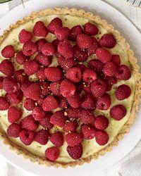 Raspberry Tart with Vanilla filling and Pistachio Crust