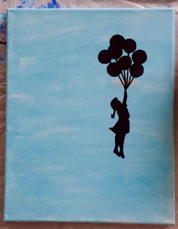 My version of this iconic street art. #painting #art #cute #simple #streetart #graffiti #girl #balloons #sky #clouds #diy #dorm #canvas