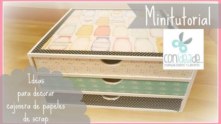 Ideas para decorar una caja organizadora de papeles de #scrapbooking #decoupage #manualidades #decoracion