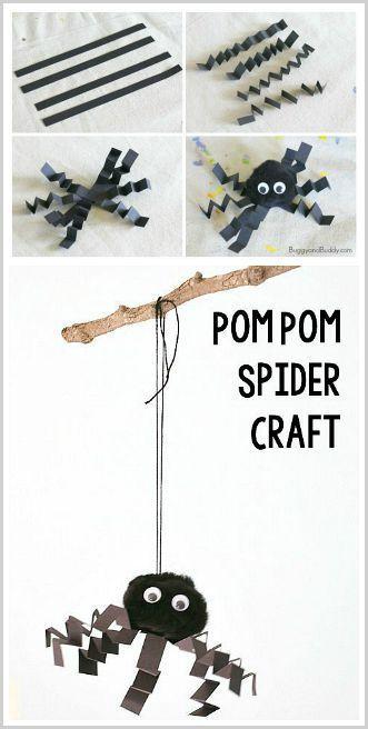 Halloween Crafts for Kids: Make a pom pom spider! ~ http://BuggyandBuddy.com