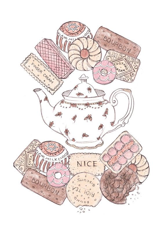 Biscuit and Teapot Illustration. #tea