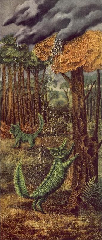 Remedios Varo (Spanish-Mexican, 1908-1963). El Gato Helecho - The Fern Cat. All cats,even magic green ones,