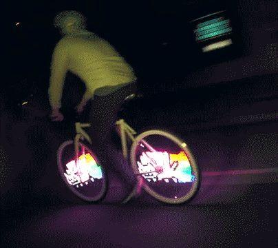 Nyan Cat bicycle  (Click to view GIF Anime)     http://pinterest.com/pin/248331366923514065/ Nyan Cat [original] (YouTube)