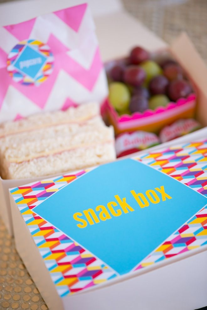 Personalised Geometric Disco Themed Party Snack Box with goodies!