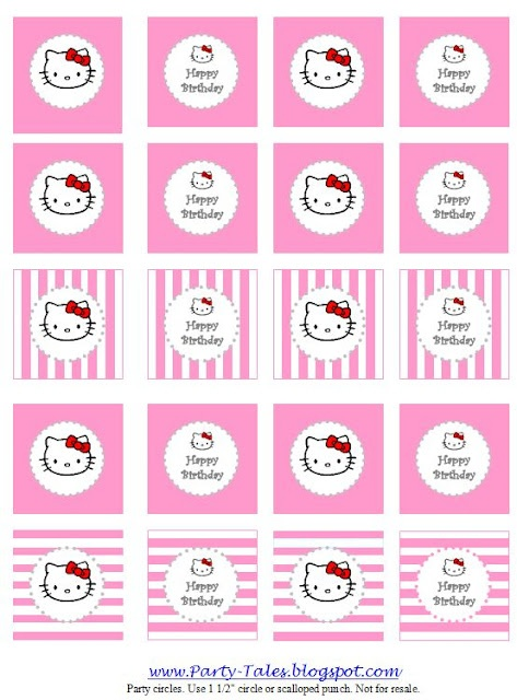 Party-Tales: ~ Party Printable ~ HELLO KITTY Party circles {Cupcake toppers, favor tags} Free download