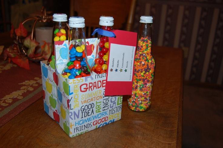 Bottles filled with candy for Secret Pal.