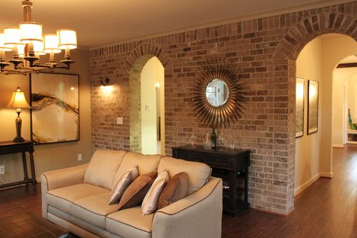 Sunburst Mirror Traditional Living Room Brick Wall Design, Pictures,  Remodel, Decor And Ideas